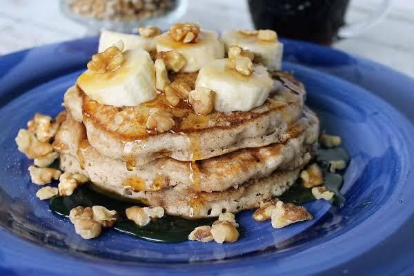 Cinnamon Vanilla Pancakes W/ Banana & Walnuts