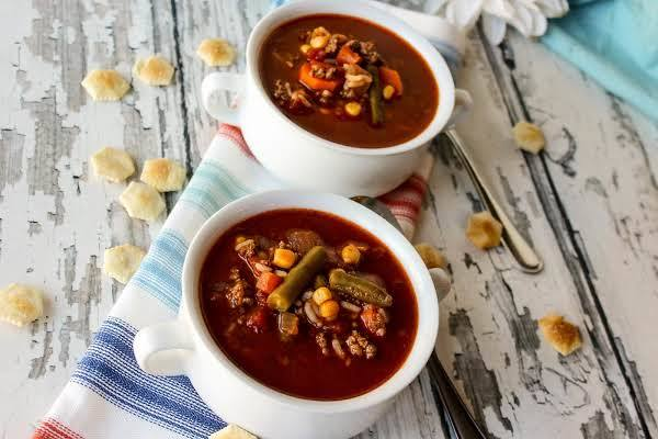 Baby It's Cold Outside Burger Soup