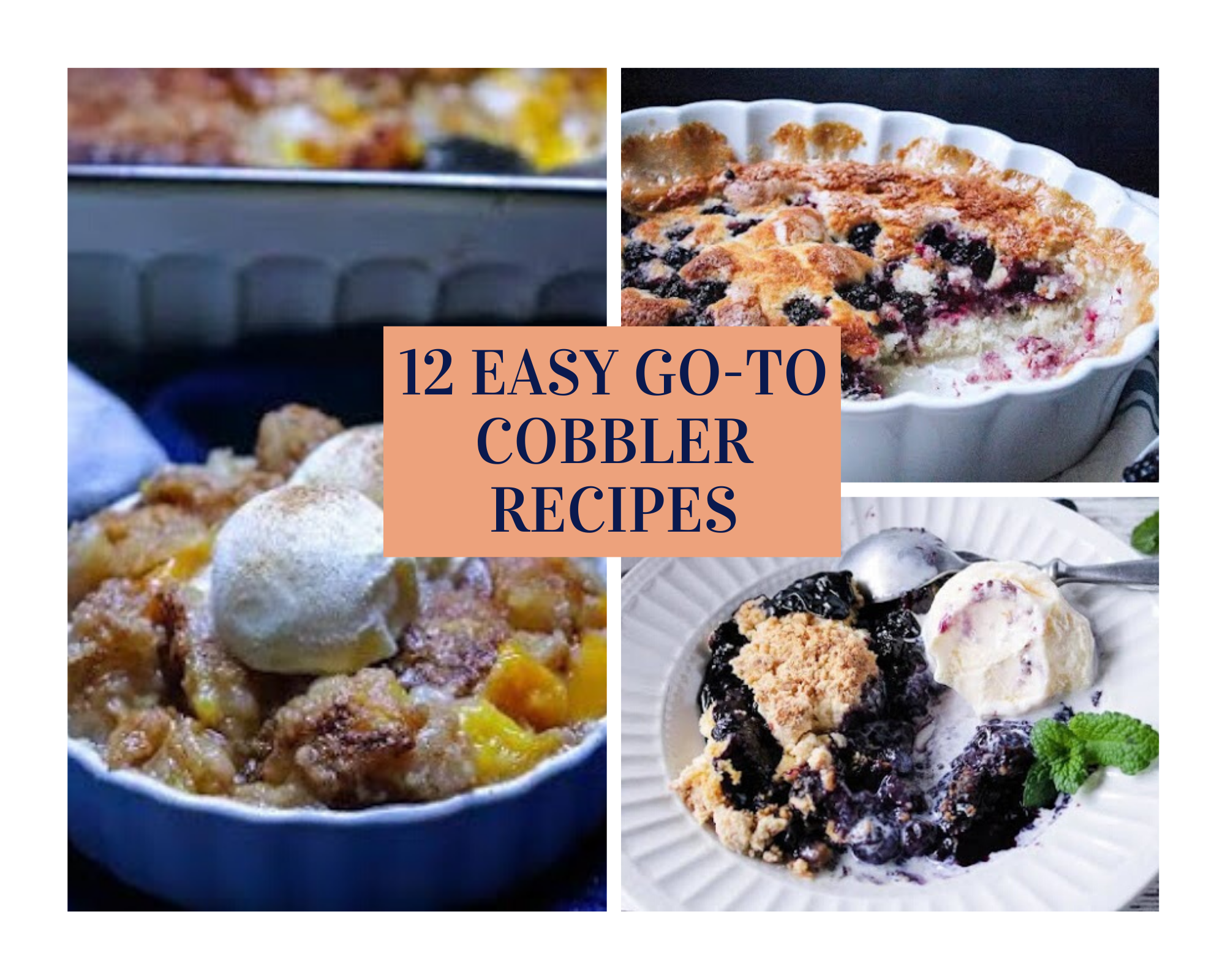 Homemade blueberry, peach and blackberry cobbler