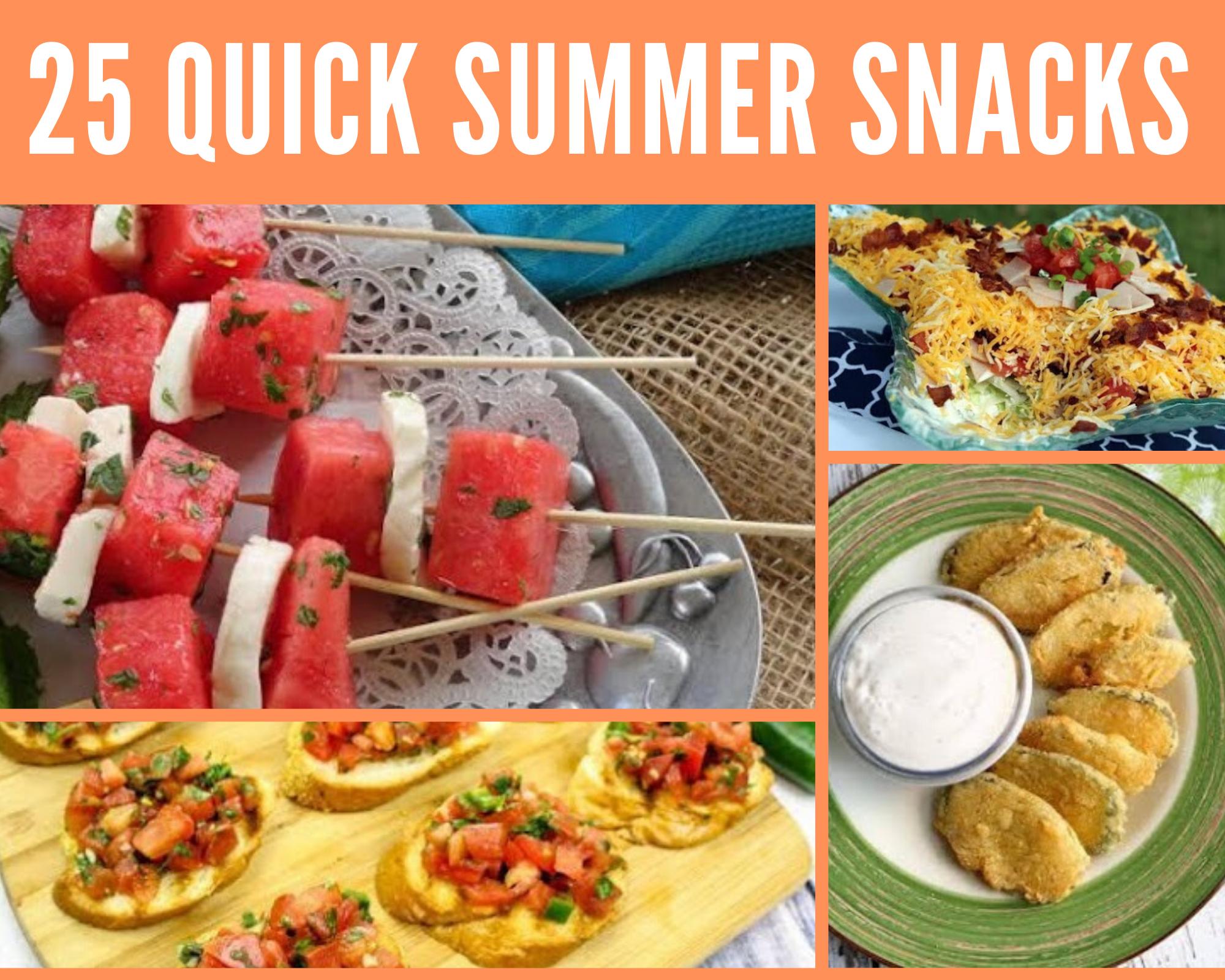 Fried pickles, taco dip, bruschetta and watermelon kabobs