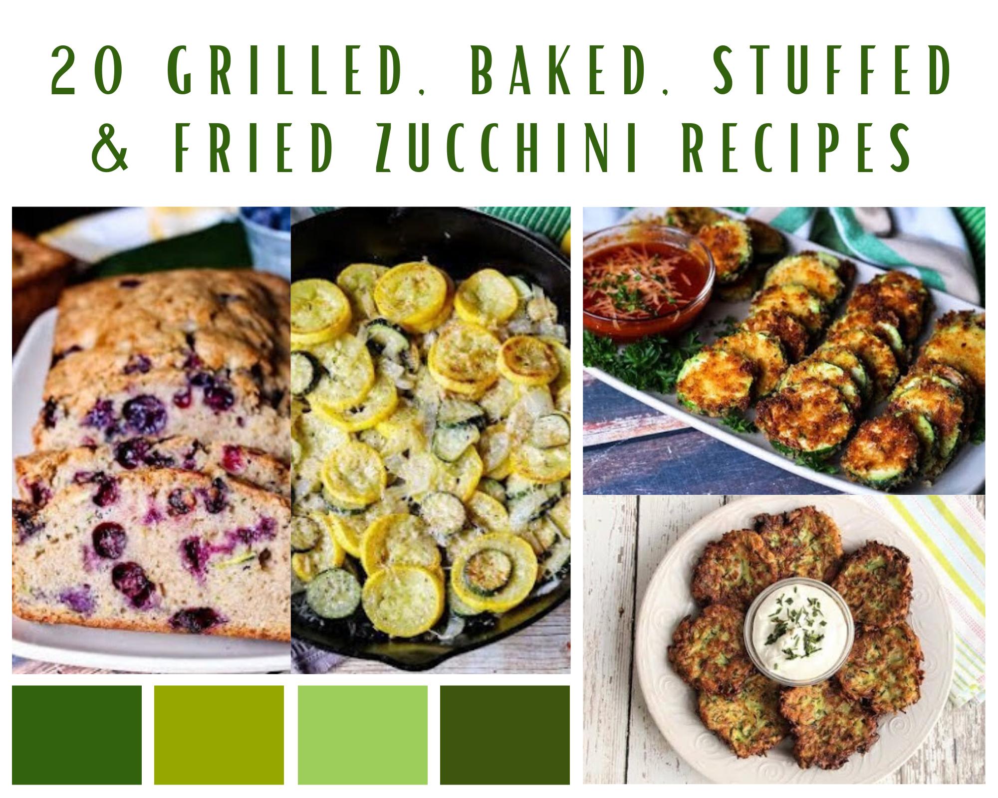 Zucchini bread, zucchini chips, zucchini fritters and sauteed zucchini