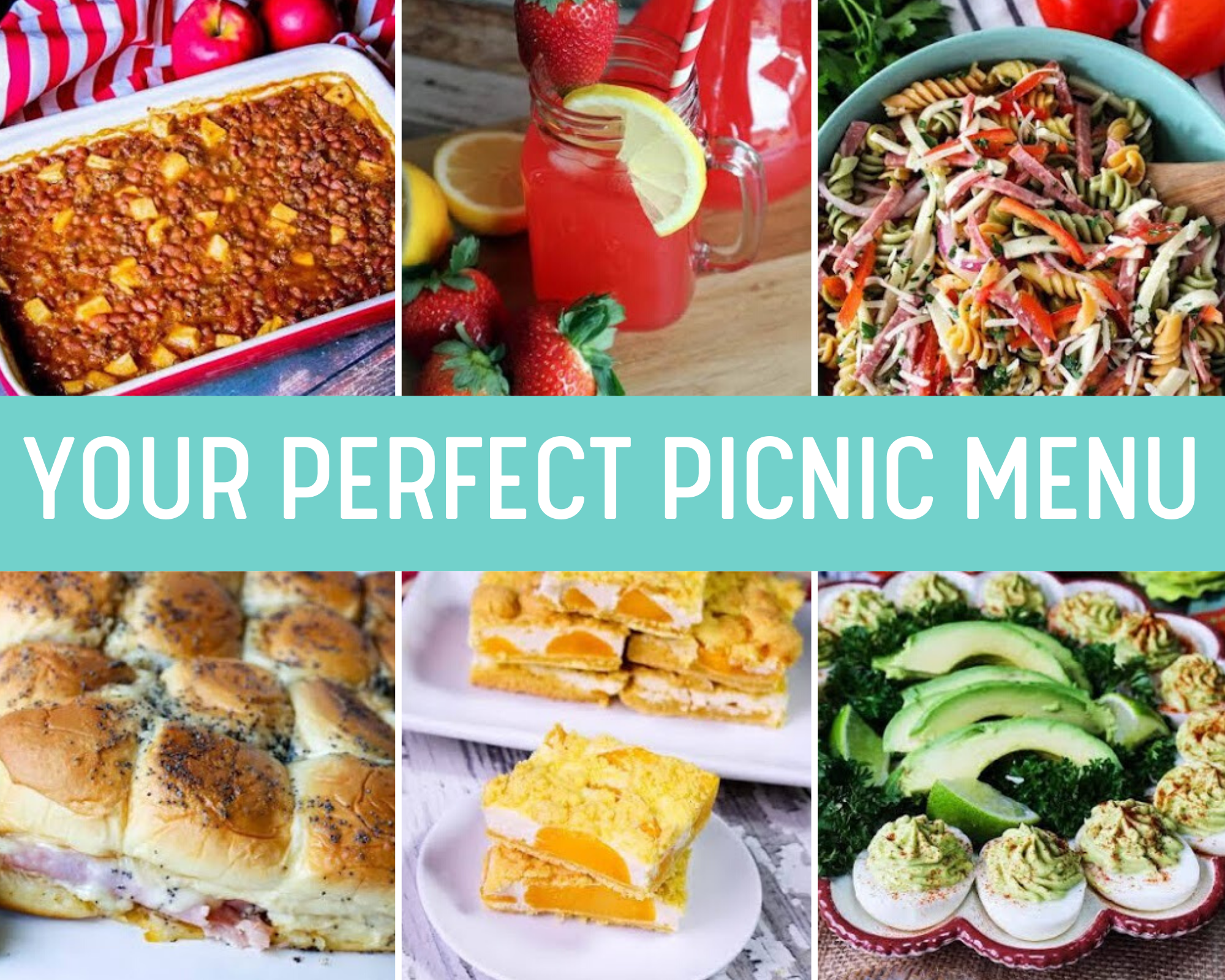 Picnic appetizers, sides, main dishes and drinks