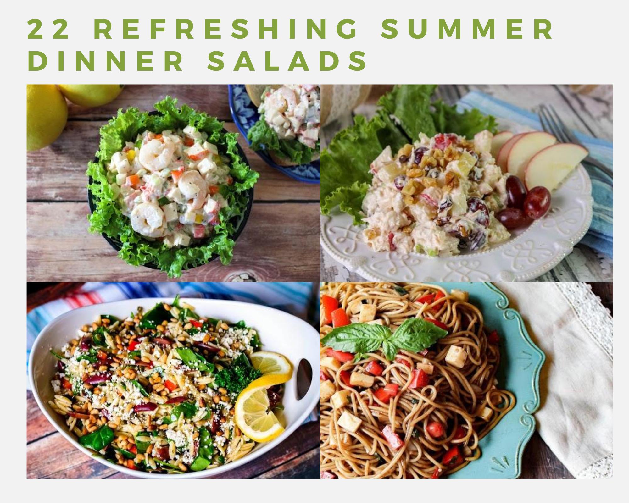 Pasta salad, seafood salad, chicken salad and orzo salad