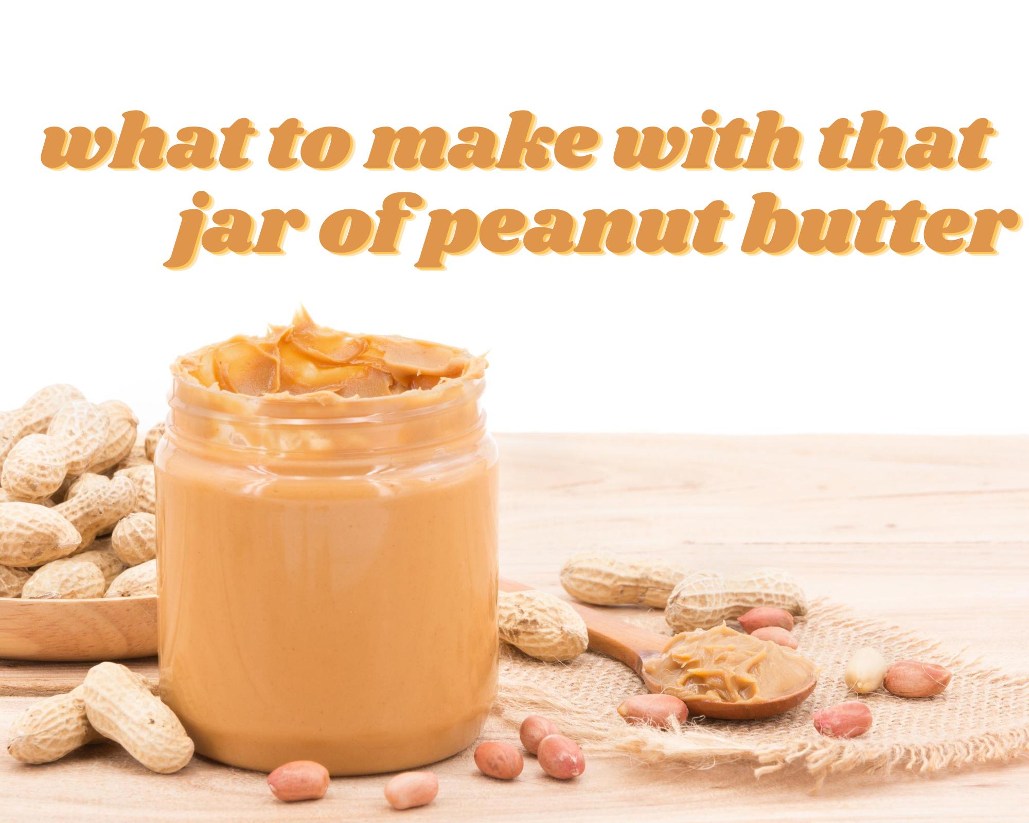 An open jar of peanut butter