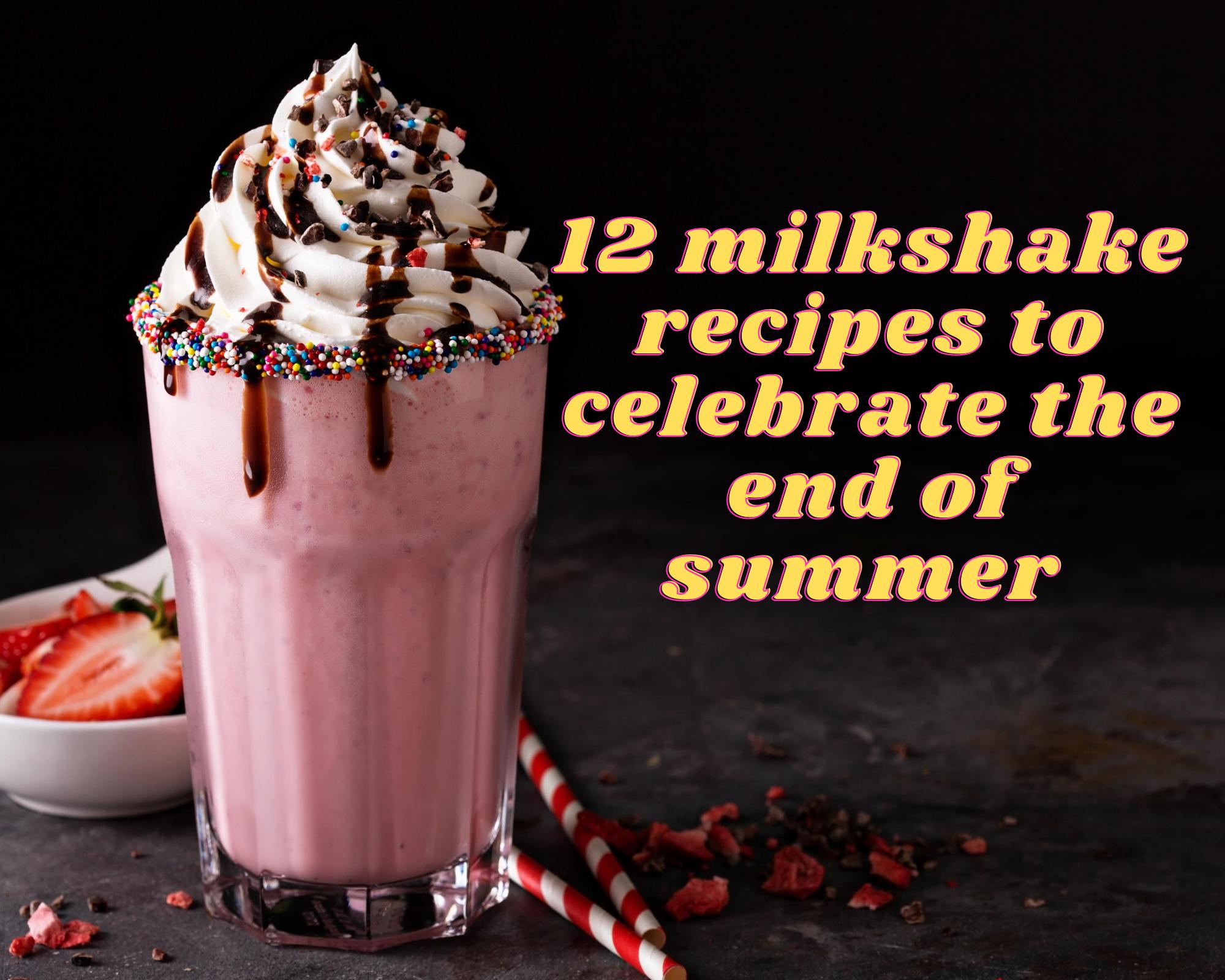 Strawberry milkshake with whipped cream