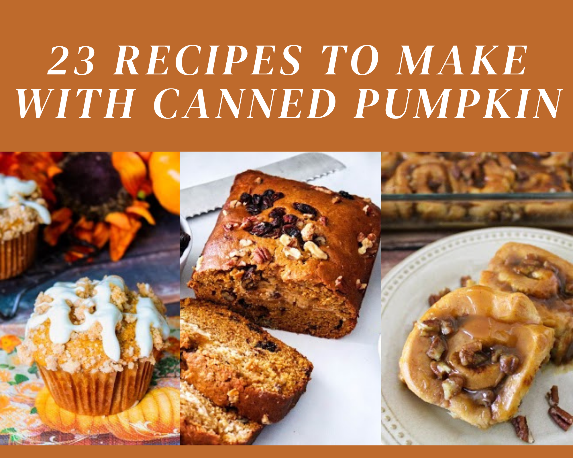 pumpkin muffins, pumpkin bread and pumpkin sweet rolls