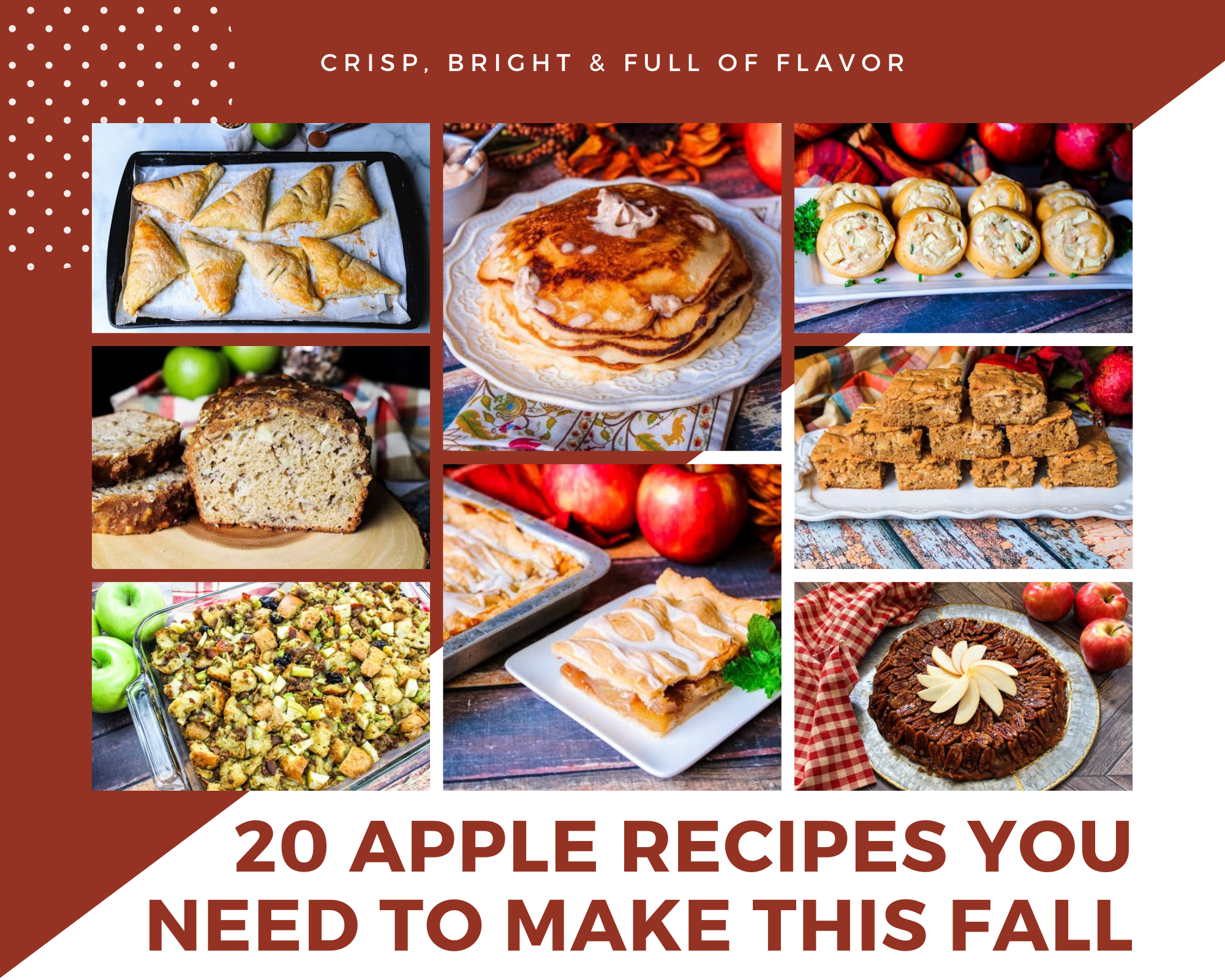apple bread, apple pancakes, apple stuffing and more apple recipes