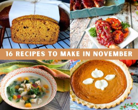 Pumpkin bread, pumpkin pie, cranberry chicken and butternut squash soup