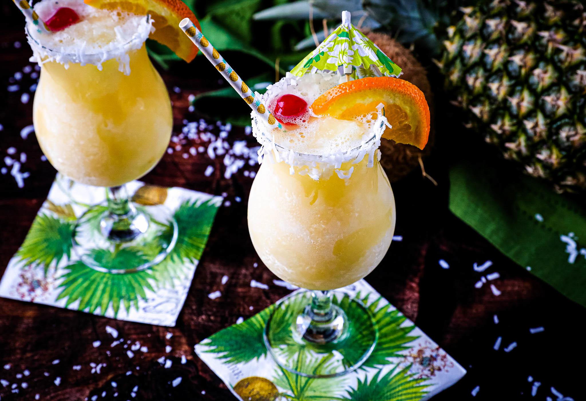 Two glasses of Pina Colada Slush